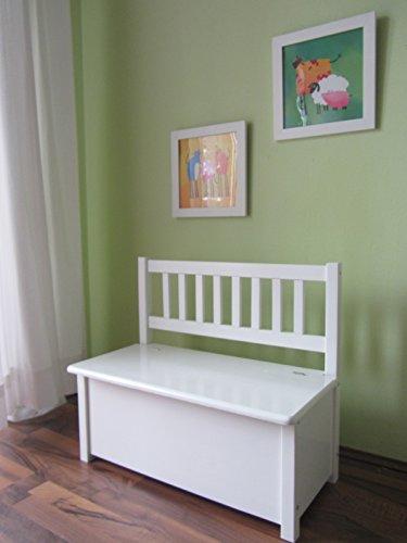Panchina per bambini, con baule, in legno massiccio bianco