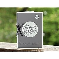 Trauerkarte, graue Vögel, mit schwarzer und grau schimmernden Schleife, mit Kuvert, handgefertigt/handmade, Beileidskarte, Kondolenz
