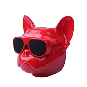 Elistooop Bluetooth Speaker Dog Head Stereo Bass Portable Wireless Speaker Bluetooth 4.1 Outdoor (Red)