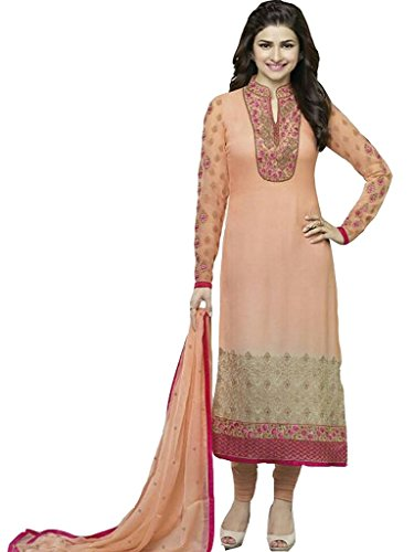 Feny Fab Knitts Prachi Desai Designer Peach Georgette Straight Salear Suit