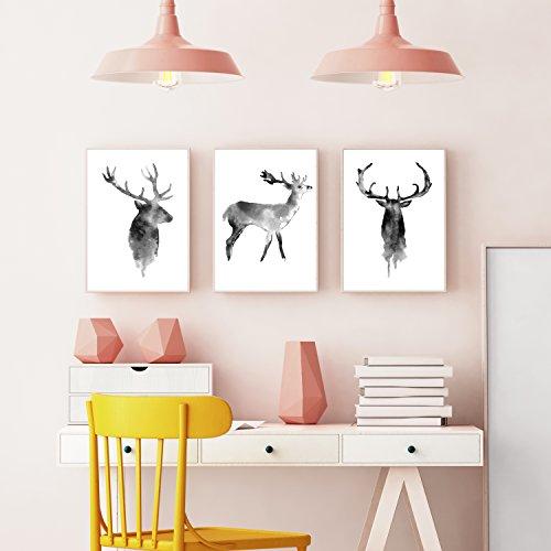 Wandposter für Wohnzimmer, Schlafzimmer, Arbeitszimmer Poster, Wandbild, Wanddruck edel (DIN A4 3er-Set) Hirsch - 5
