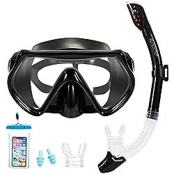 Masque et tuba Supertrip pour enfant et adulte - Anti-vapeur et anti-fuite - Avec 2 embouts, 1 pochettes de téléphone étanche et 2 bouchons d'oreilles, Noir