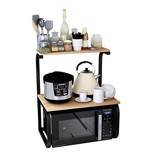 YANZHEN Hölzern Küchenregal Mikrowellenregal Gewürzflaschen Geschirr, 4 Farben Verfügbar, 1 Schicht / 2 Schichten Küche Ablagegestelle (Farbe : Teak Color-2#)