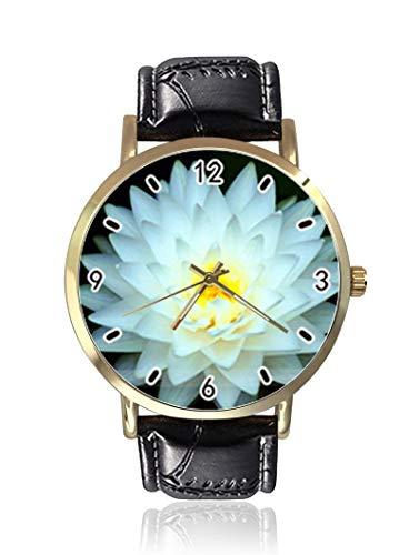 Snow White Lotus–Orologi da uomo, moda unisex in pelle orologi da polso al quarzo casual