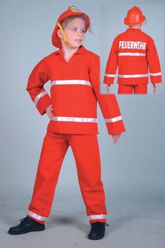 Kinderkostüm Feuerwehrmann rot Gr. 104
