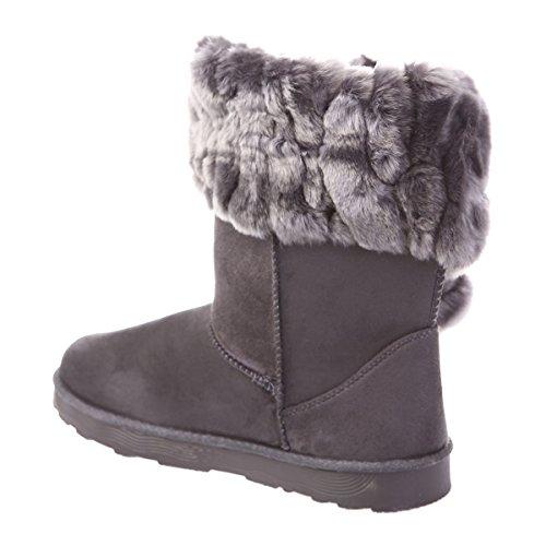 La Modeuse Boots Fourrées en Simili Daim Gris