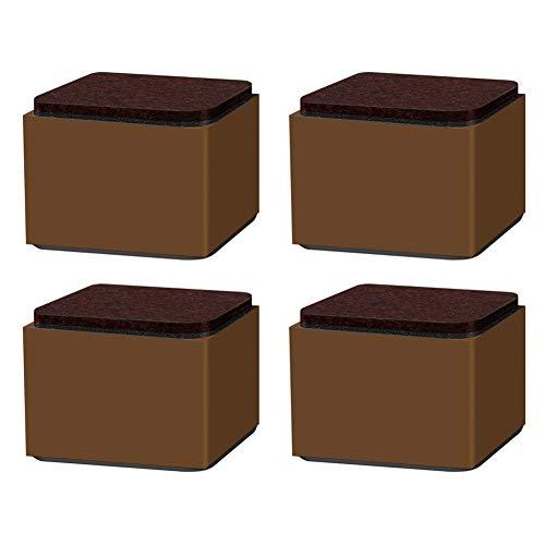YDDHQ Möbelfüße 4er Set, Tischfuß Schrankfuß Sofafüße MöBelfuß Stühle Runden Küche Ersatz Möbelfüße, Kohlenstoffstahl + Filz, Brown -