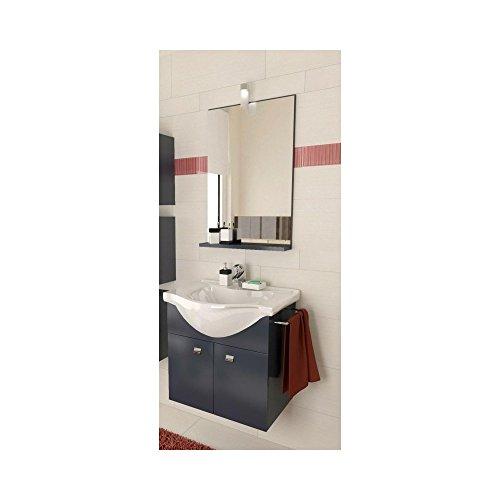 Mobile bagno sospeso antracite cm.57 con lavabo in porcellana e specchio