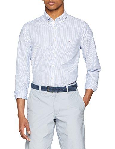 Tommy Hilfiger Herren CORE Stretch Slim Stripe Shirt Freizeithemd, Mehrfarbig Blue/Bright White 902, Medium -