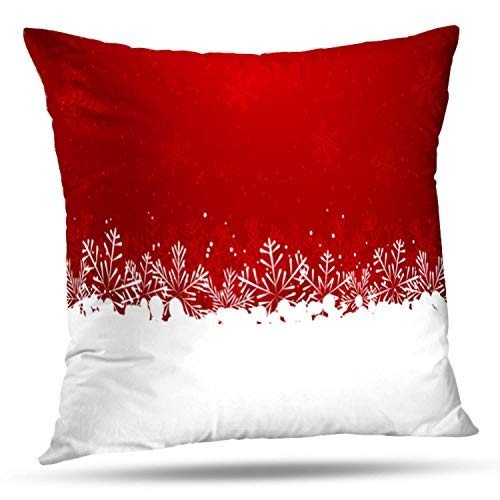 "Bensontop Dekorative Throw Pillow Cover Square Kissen 18""X 18\"" Weihnachten Schneeflocke Grenze rot weiß Schnee Weihnachten Kissenbezug Home Decor Küche Gartensofa"