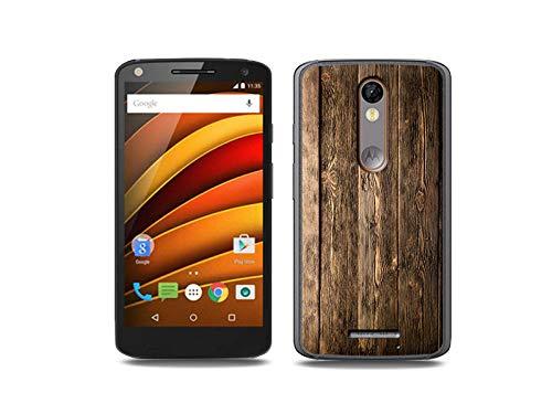 etuo Handyhülle für Motorola Moto X Force - Hülle, Silikon, Gummi Schutzhülle - Holzbretter