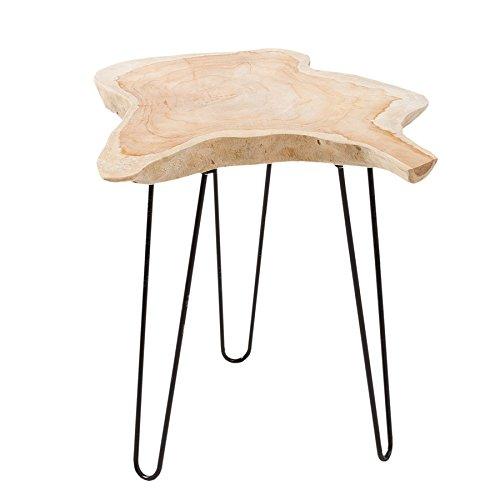 Riess Ambiente Massiver Teak Beistelltisch WILD 55cm Baumscheibe Couchtisch mit Jahresringen Holztisch -