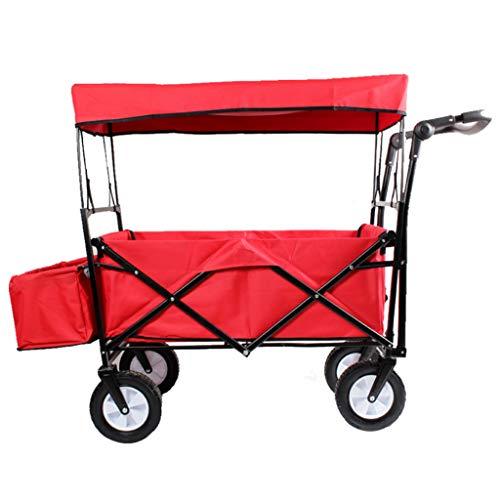 XUANLAN Leichter Warenkorb Utility Große Kapazität Pull Wagon Zusammenklappbare Faltbare Wagen Mit Abnehmbarem Baldachin, für Outdoor Camping Shopping Strand Starke Tragfähigkeit (Color : Red) (Baldachin Wagen)
