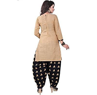 Om Women's Cotton Unstitched Salwar Suit (Beige Black_Free Size)