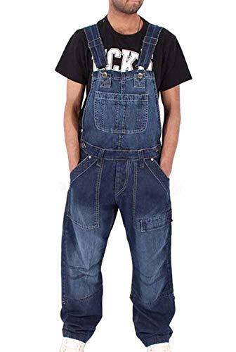 Huateng Hombre Denim Bib Overoles Peto de Trabajo Dungaree Jeans Jumpsuits