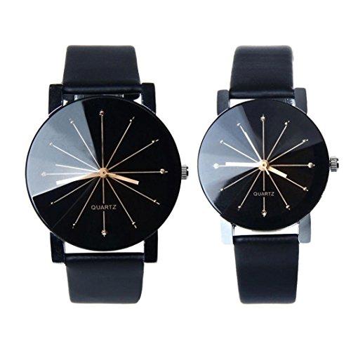 FEITONG 1 coppia uomini e donne quarzo orologio in pelle (Black)
