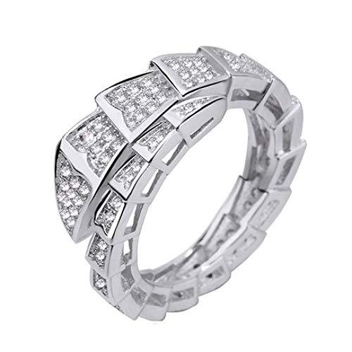 QINJLI Herren- und Damenringe, einfacher Serpentin mit 3A Zirkon Ring