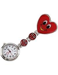 Reloj del enfermera de diseno reloj de senora - SODIAL(R)Diseno del corazon sonriente Reloj del enfermera Reloj de cuarzo Reloj de senora Reloj de bolsillo con clip (Rojo)