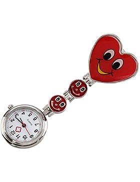 Design Krankenschwesteruhr Damenuhr - SODIAL(R) Smiley Herz Design Krankenschwesteruhr Quarzuhr Damenuhr Taschenuhr...