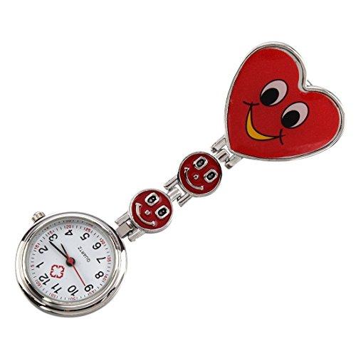 Design Krankenschwesteruhr Damenuhr - SODIAL(R) Smiley Herz Design Krankenschwesteruhr Quarzuhr Damenuhr Taschenuhr mit Clip (Rot)