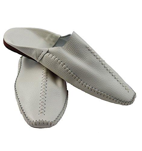 Marocchino Marocchino Babouche - Pantofole In Pelle Da Uomo Realizzate A Mano In Bianco