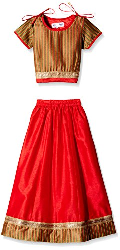 Atayant Girl Lehenga Choli (ATAYK_037_3:4YR_Gold:Red_M)