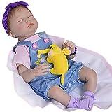 Candyana Reborn Doll 55cm Closed Eye Simulation Baby Yellow Hair Boy Silikon Dolls Children Toys,55cm