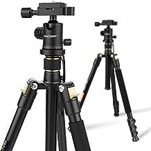 """Trípode - K&F Concept Trípode para Cámara Reflex TM2324, Trípode Ligero Viaje con Patas de 4 Secciones + 360 Grado Rótula de Bolda + 8KG Capacidad de Carga + 1/4"""" plato de liberación rápida para Panasonic Canon Nikon Sony GoPro Fujifilm Kodak Cámara DSLR y DV, Altura: 41/158cm; Color: Negro"""