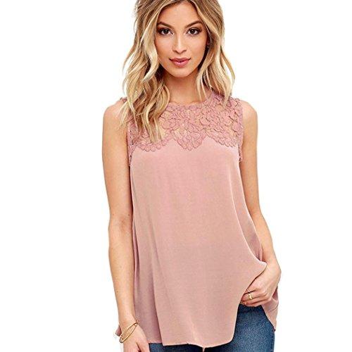 SMARTLADY Mujer Camisetas sin mangas ocasionales del Gasa Encaje Blusa (XL, Rosa)