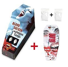 Idea Regalo - FXSTUFF Denti da vampiro + capsule di sangue finto + pasta modellabile/termoplastica (riutilizzabile) - tenuta perfetta tramite adattamento individuale