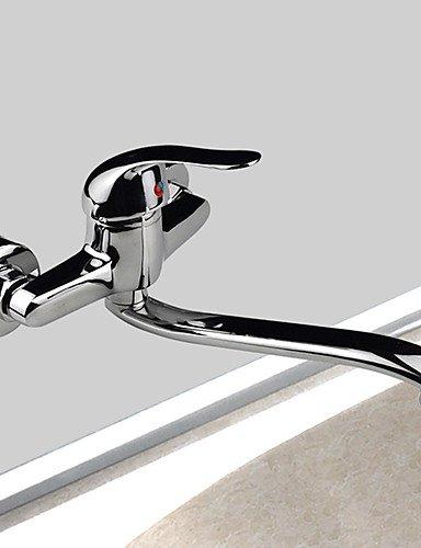 YFF@ILU Montato a parete singola maniglia due fori in ottone cromato con rubinetto di cucina becco orientabile Miscelatore lavello rubinetto di acqua