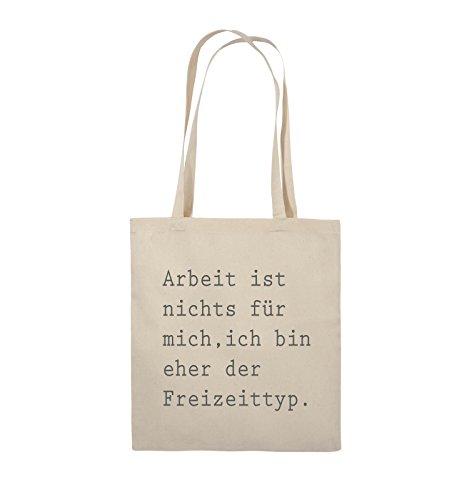 Comedy Bags - Arbeit ist nichts für mich, ich bin ehr der Freizeittyp - Jutebeutel - lange Henkel - 38x42cm - Farbe: Schwarz / Silber Natural / Grau
