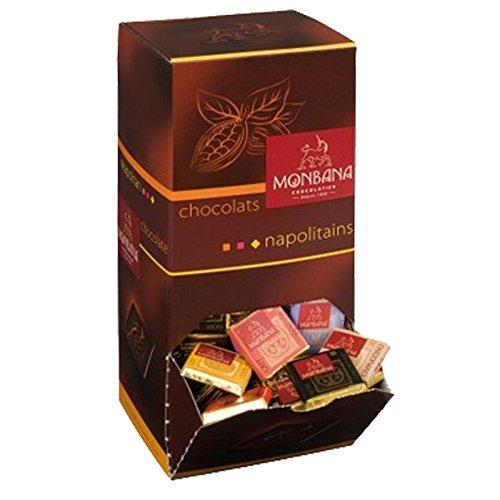 Coffret Assortiment de 200 carrés de chocolat. 6 saveurs : Noir 70% cacao min, Noir Orange, Noir...