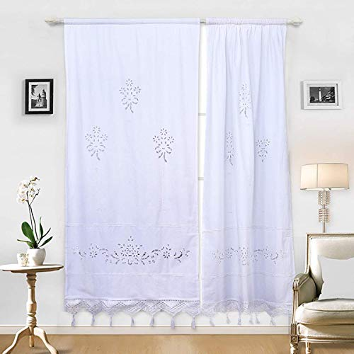 DOKOT Leinen Baumwolle Stickerei Küche Vorhang, Cafe Vorhang, Esszimmer Vorhang mit Crochet Tassel Border (Weiß 70x150cm 2er Set)