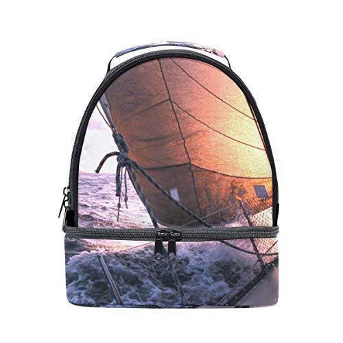 Bolsa de almuerzo doble para el hombro, barco de vela, paisaje, mar,...