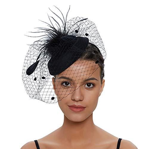 Zivyes Hochzeit Faszinator Hut 50er Jahre Mottoparty Accessories Halloween Kostüme Kopfschmuck (1-Schwarz)