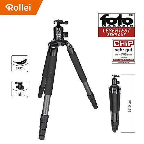 Rollei Rock Solid Alpha Mark II inkl Kugelkopf T7S Carbon Stativ - Kamera Stativ mit 30 KG Tragkraft, ideal für Reise und Naturfotografie - geeignet für Spiegelreflex-(DSLR) u. Systemkameras (DSLM)