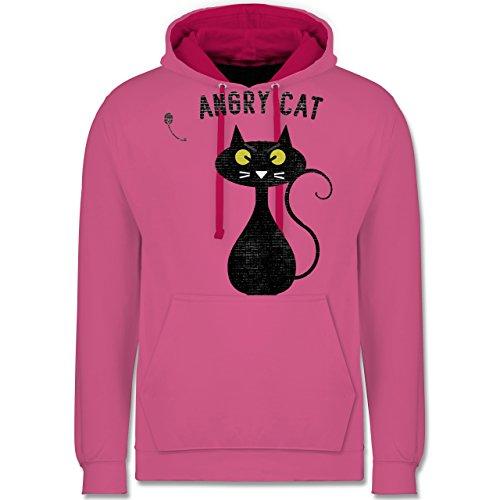 Nerds & Geeks - Angry Cat - Nerdy Cats - Kontrast Hoodie Rosa/Fuchsia