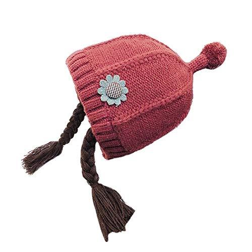 -Winter-Baby-Hut-Blumen-weibliches Baby-Perücke-Hut-kleines Mädchen strickte Lange Wollgeflecht-Hut ! ()