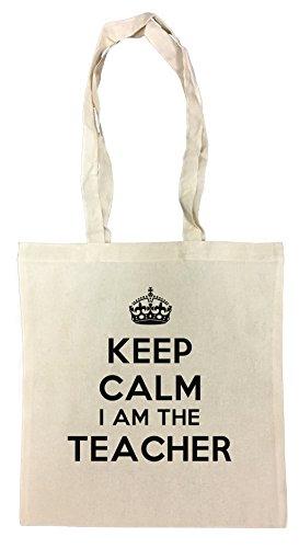 keep-calm-i-am-the-teacher-borsa-della-spesa-spiaggia-cotton-riutilizzabile-shopping-bag-beach-reusa