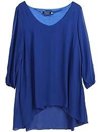 EOZY Robe Tunique Courte Col V Manches Fendue Ample Grossesse d'été (Buste:86-92cm, Bleu)
