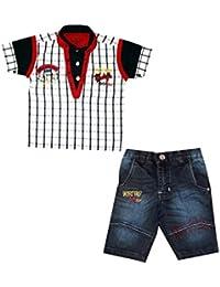 262c24d298 KOOKA KIDS Boys Suit with Half Sleeves Shirt and Denim Bottom (2PC) Set