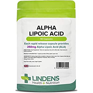 41HsiuYi8OL. SS300  - Lindens Alpha Lipoic Acid 250mg Capsules | 90 Pack | A Fatty Acid & Powerful Antioxidant Used in Every Cell in The Body