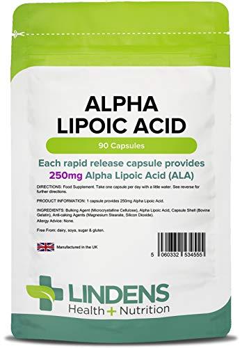 Lindens Ácido alfa lipoico 250 mg en cápsulas | 90 Paquete | Un ácido graso y antioxidante potente usado en todas las células del cuerpo