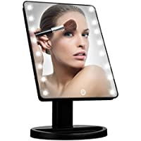 Makeup Light Mirror, Charminer 16 LEDs Touch Light Illuminated Cosmetic Desktop Vanity Mirror with Stand,Handy Touching On/Off Black by Charminer