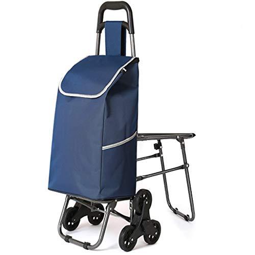 RTTgv Einkaufstrolleys Einkaufswagen mit Klappsitz 45L - Einkaufsrollerwagen bis 50kg belastbar (Stil : A)