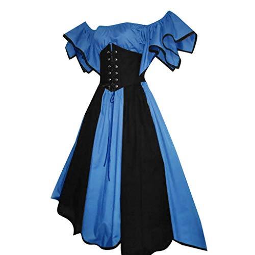 Zimuuy Damen Kleider Karneval Kostüm Mittelalter Kostüm Luxuriös Mittelalterlichen Adels Palast Prinzessin Kleid Sommer Kurze Ärmel Petal Sleeve Slash-Neck Cosplay Kleid (Blau, (Slash Kostüm Frauen)