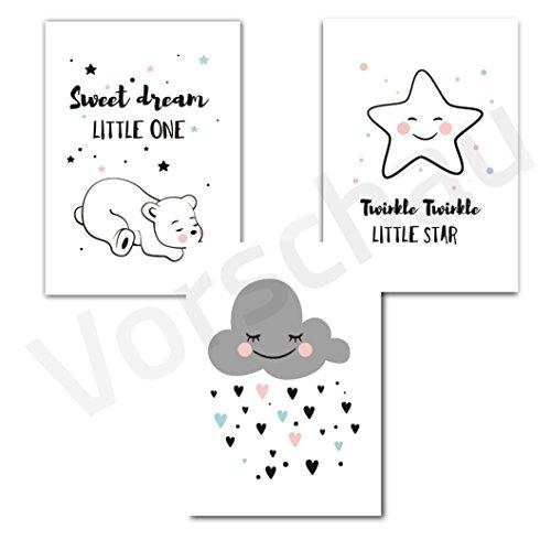 Kinderposter Set | Motiv: Sweet Dream | Kinderzimmer Babyzimmer Bilder | A4