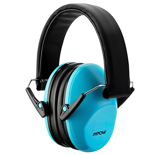 Mpow Kids Ear Defenders, NRR 25dB/SNR 29dB Baby Ear Protectors Ear Muffs,Hearing Protectors for Concert or Fireworks, Adjustable Headband Ear Defenders For Children (Blue, Carrying Bag Included) Test