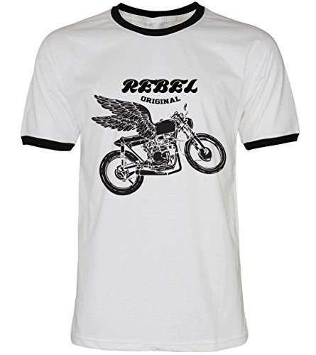 PALLAS Unisex's Motorcycle Club Rebel Vintage T Shirt WhiteBB